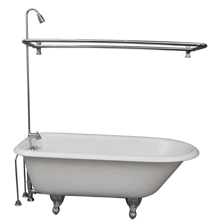 Barclay 55.5-in White Cast Iron Clawfoot Bathtub with Back Center Drain
