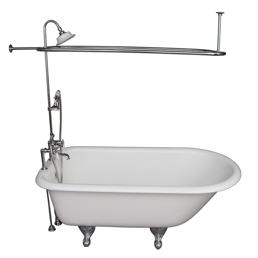 Barclay 60.75-in White Cast Iron Clawfoot Bathtub with Back Center Drain