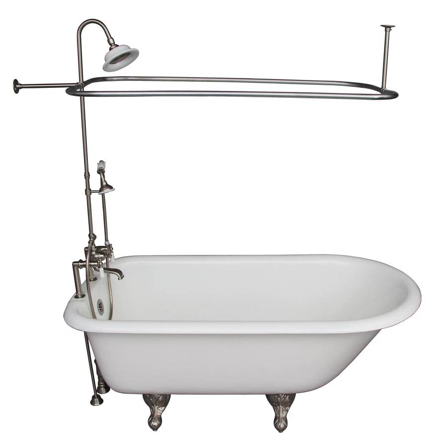 Barclay 60 75 In White Cast Iron Oval Back Center Drain Clawfoot Bathtub With Faucet Included