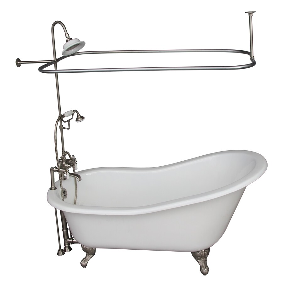 Barclay Cast Iron Oval Clawfoot Bathtub with Back Center Drain (Common: 30-in x 61-in; Actual: 31-in x 30.25-in x 61.25-in)