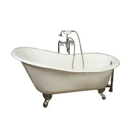 Barclay 61 25 In White Cast Iron Oval Back Center Drain Clawfoot Bathtub With Faucet Included