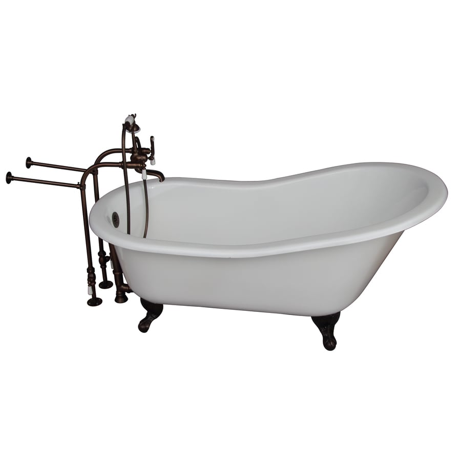 Barclay 61.25-in White Cast Iron Clawfoot Bathtub with Back Center Drain
