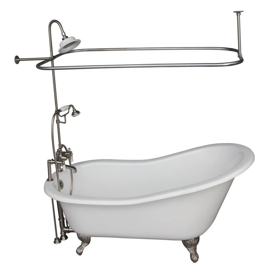 Shop Barclay 67 In White Cast Iron Clawfoot Bathtub With Back Center Drain At