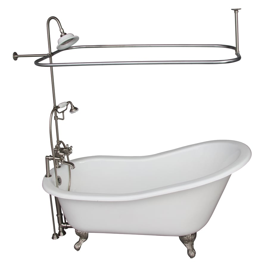 Barclay 67-in White Cast Iron Clawfoot Bathtub with Back Center Drain