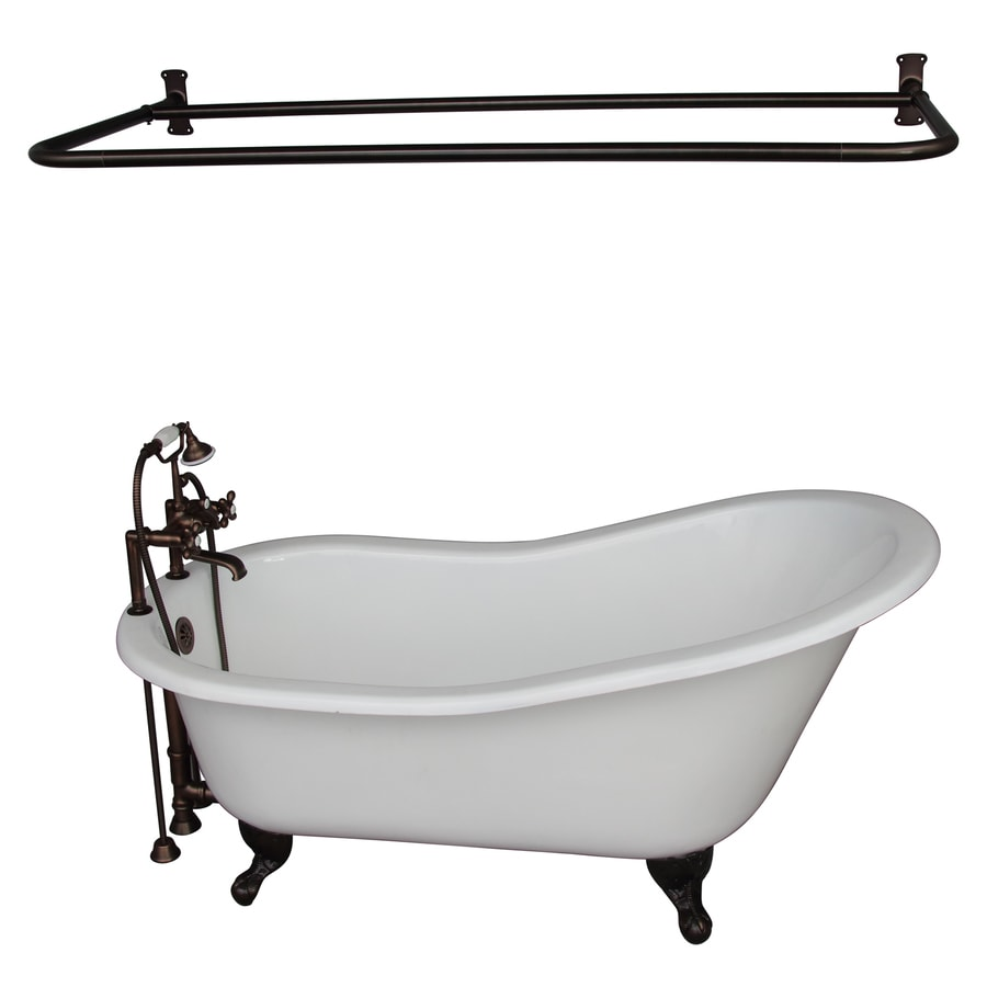 Shop Barclay 67-in White Cast Iron Oval Back Center Drain Bathtub ...
