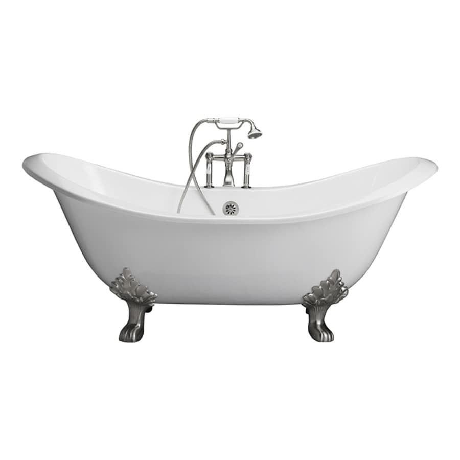 Barclay 71-in White Cast Iron Clawfoot Bathtub with Center Drain