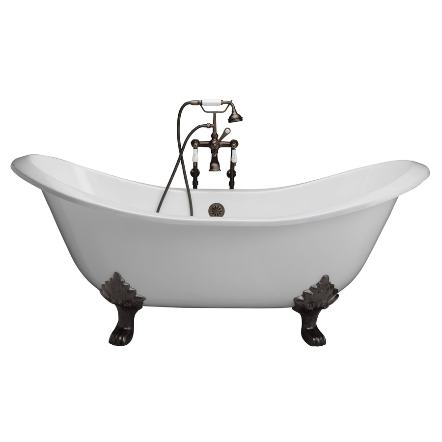 barclay 71in white cast iron clawfoot bathtub with center drain