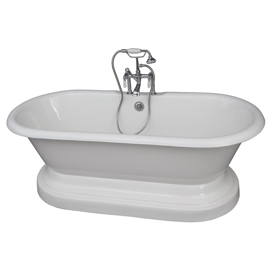 Barclay 67.75-in White Cast Iron Pedestal Bathtub with Center Drain