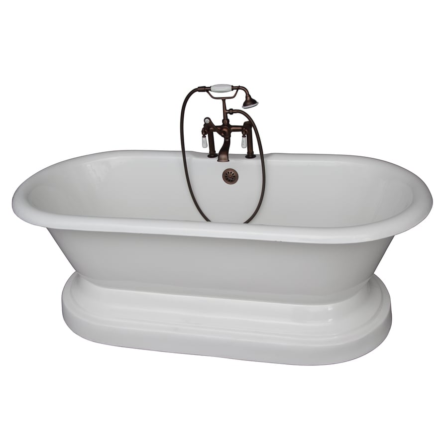 Barclay 67.75-in White Cast Iron Freestanding Bathtub with Center Drain