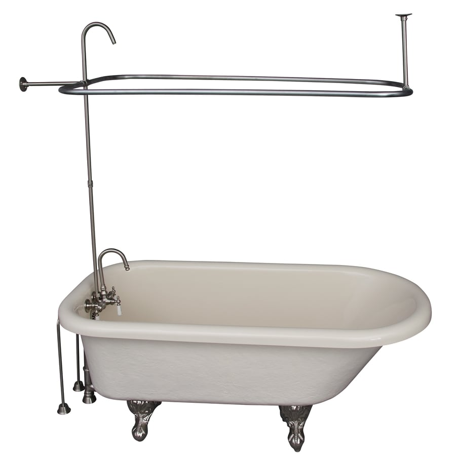Shop Barclay 60-in White Acrylic Clawfoot Bathtub with Back Center ...