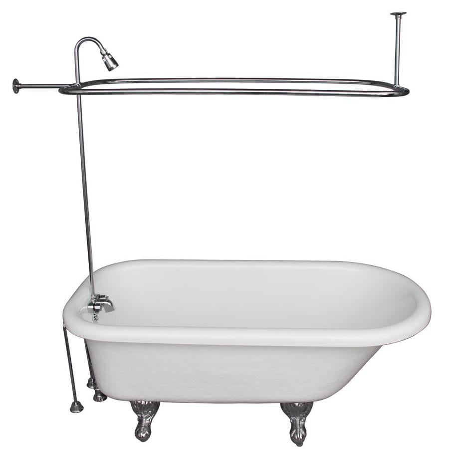 Shop Barclay 60 In White Acrylic Clawfoot Bathtub With Back Center Drain At L