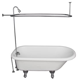 Barclay 60 In White Acrylic Clawfoot Bathtub With Back Center Drain