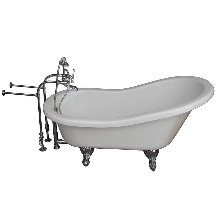Barclay 60-in White Acrylic Bathtub with Back Center Drain