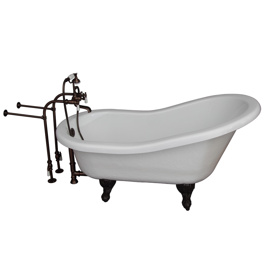 Barclay White Acrylic Oval Clawfoot Bathtub with Back Center Drain (Common: 30-in x 60-in; Actual: 31.0-in x 30.0-in x 60.0-in)