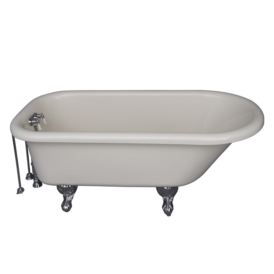 Barclay Acrylic Oval Clawfoot Bathtub with Back Center Drain (Common: 30-in x 60-in; Actual: 22.5-in x 30-in x 60-in)