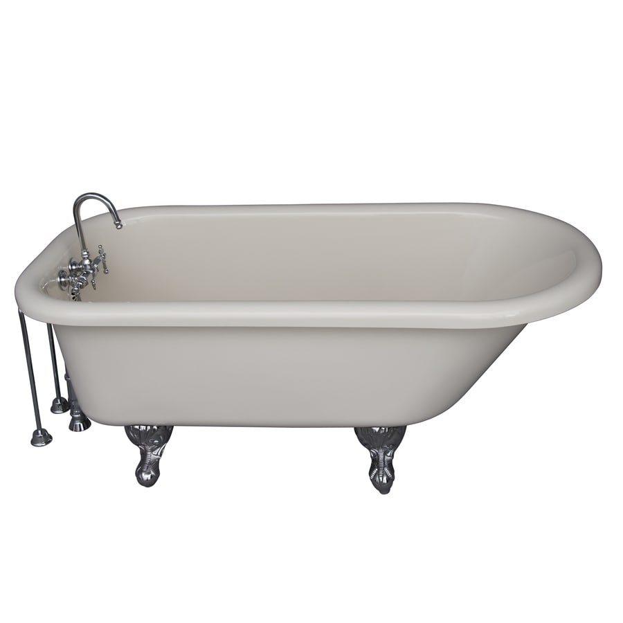 Barclay White Acrylic Oval Clawfoot Bathtub with Back Center Drain (Common: 30-in x 60-in; Actual: 24.5-in x 30.0-in x 60.0-in)