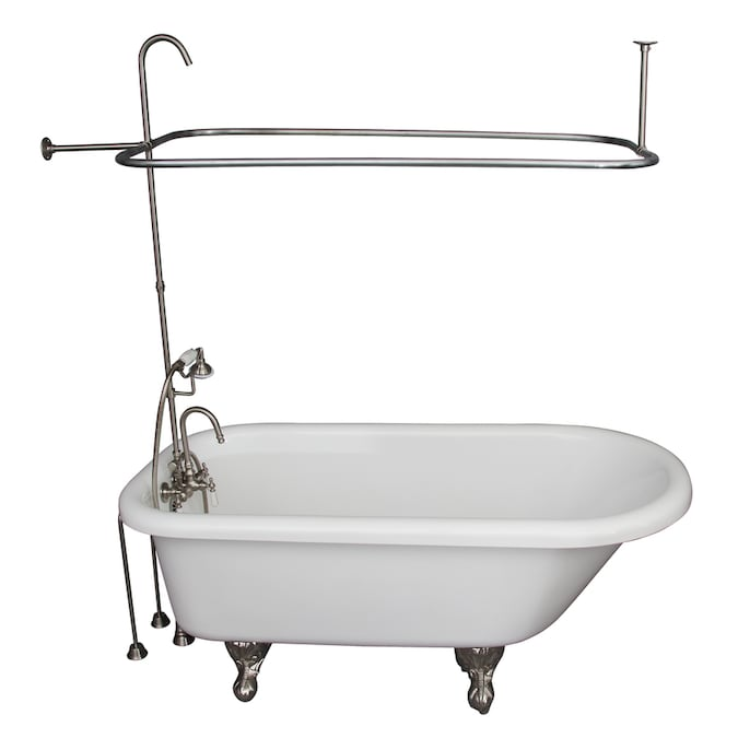 barclay 30 in w x 60 in l white acrylic oval back center drain clawfoot soaking bathtub with faucet