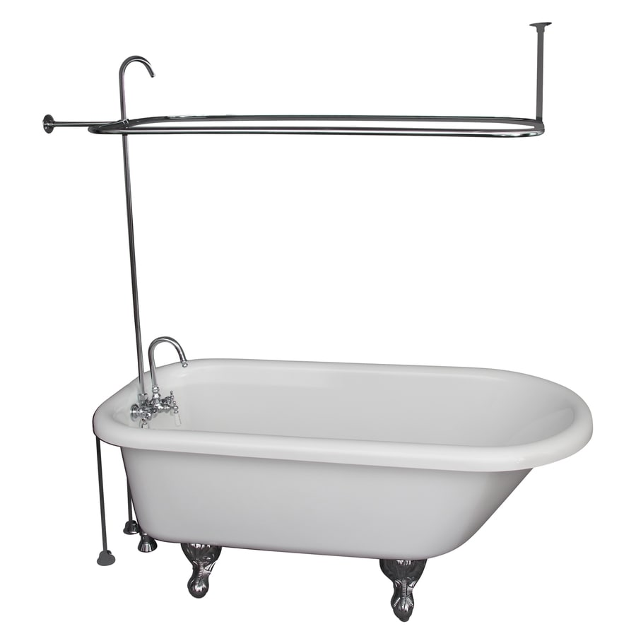 Barclay 60 in White Acrylic Clawfoot Bathtub with Back Center Drain Shop