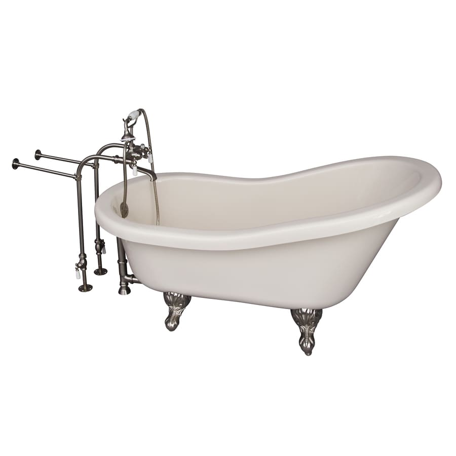 Barclay 70-in White Acrylic Clawfoot Bathtub with Back Center Drain