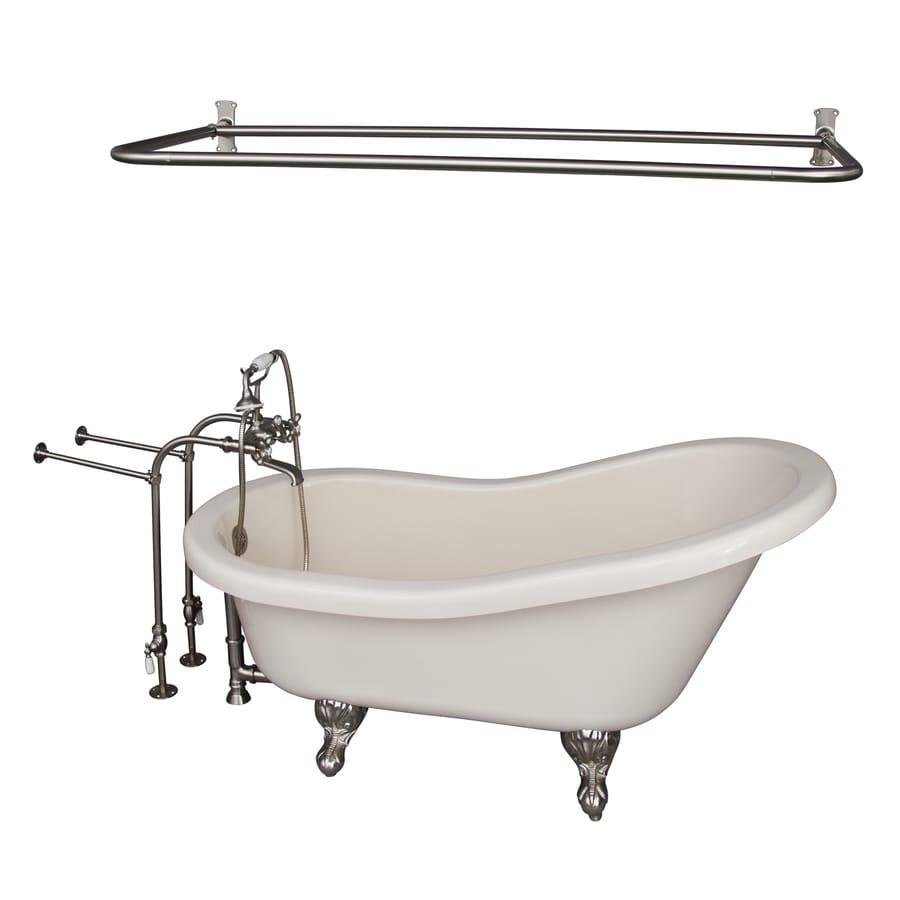 Barclay 60-in White Acrylic Clawfoot Bathtub with Back Center Drain
