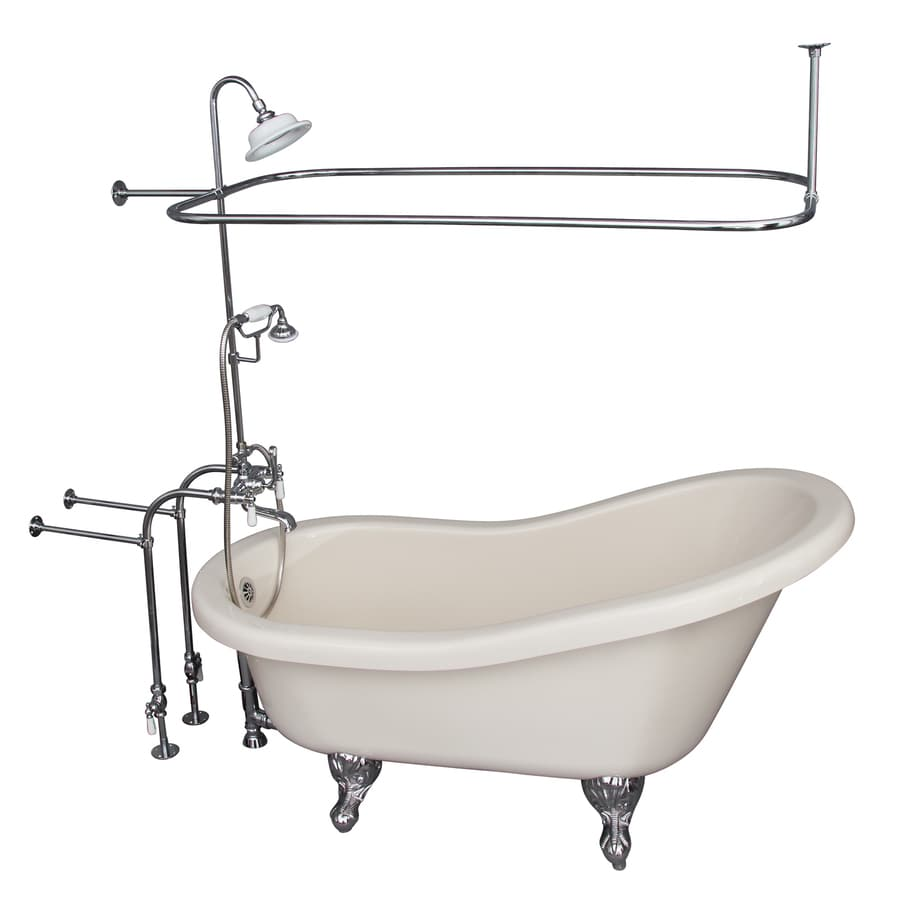 Barclay 60-in White Acrylic Clawfoot Bathtub with Back Center Drain