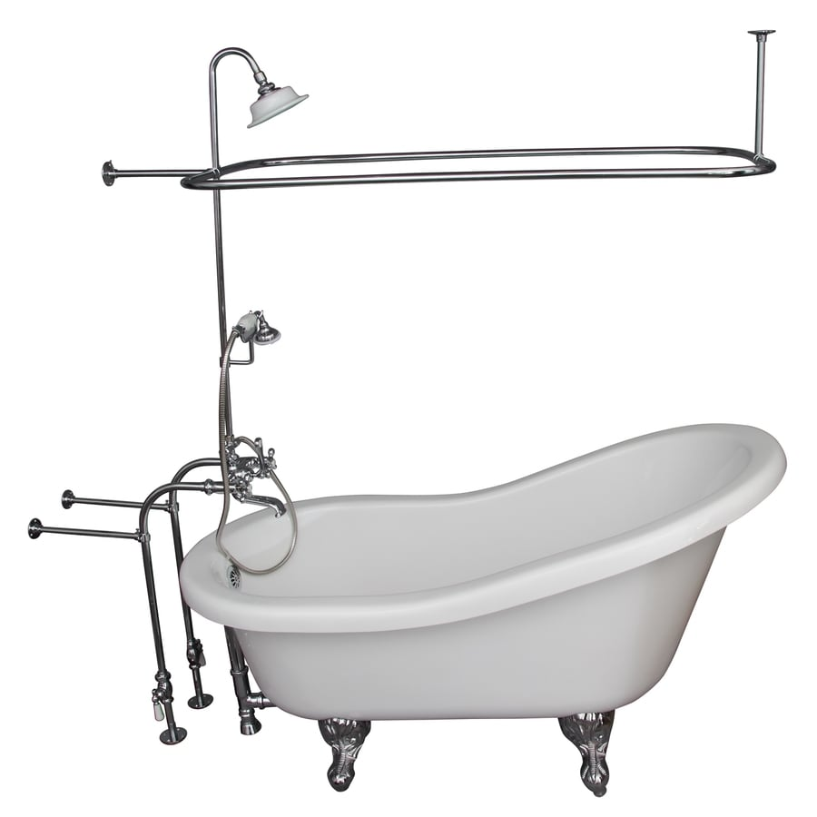 Barclay White Acrylic Oval Clawfoot Bathtub with Back Center Drain (Common: 30-in x 60-in; Actual: 32.0-in x 30.0-in x 60.0-in)