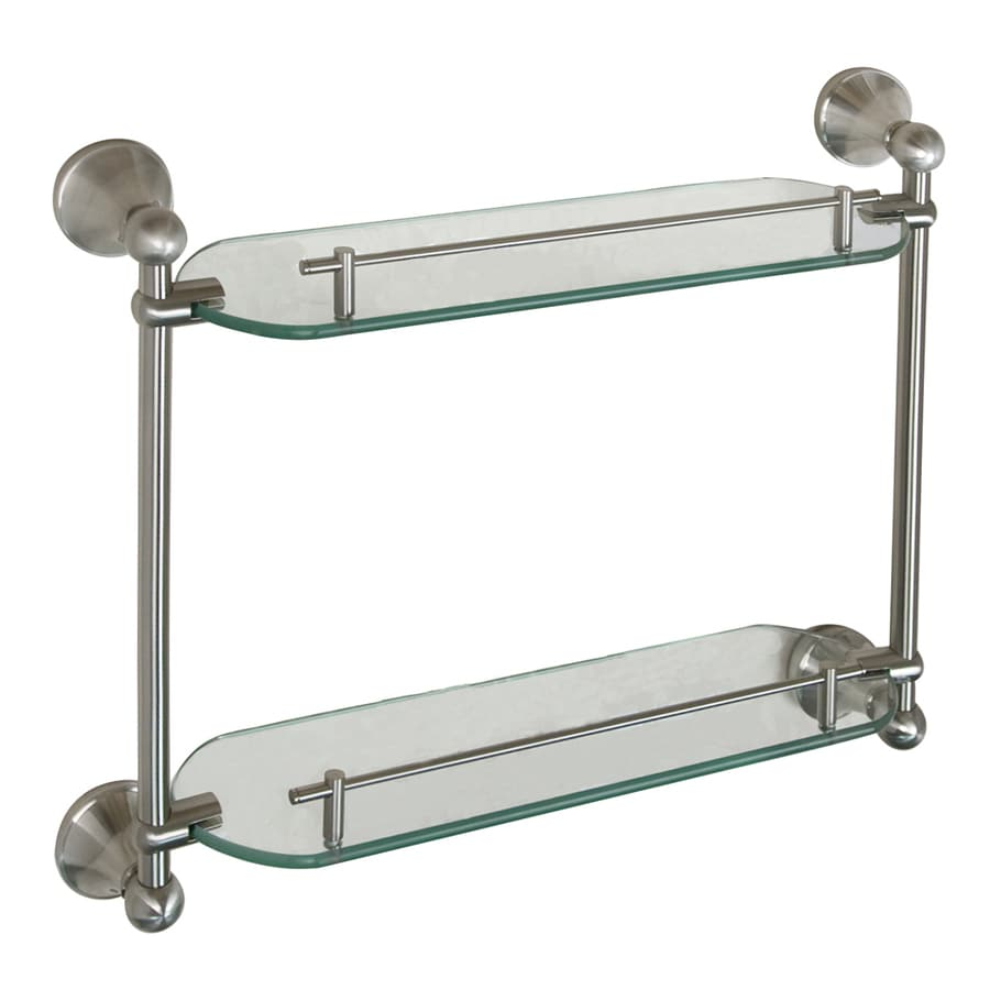 Barclay Kendall 2-Tier Brushed Nickel Glass Bathroom Shelf