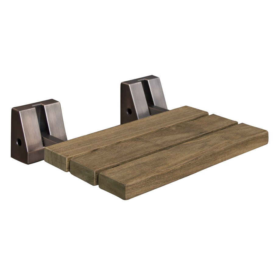 Shop Barclay Oil-Rubbed Bronze Teak Wall Mount Shower Seat at Lowes.com