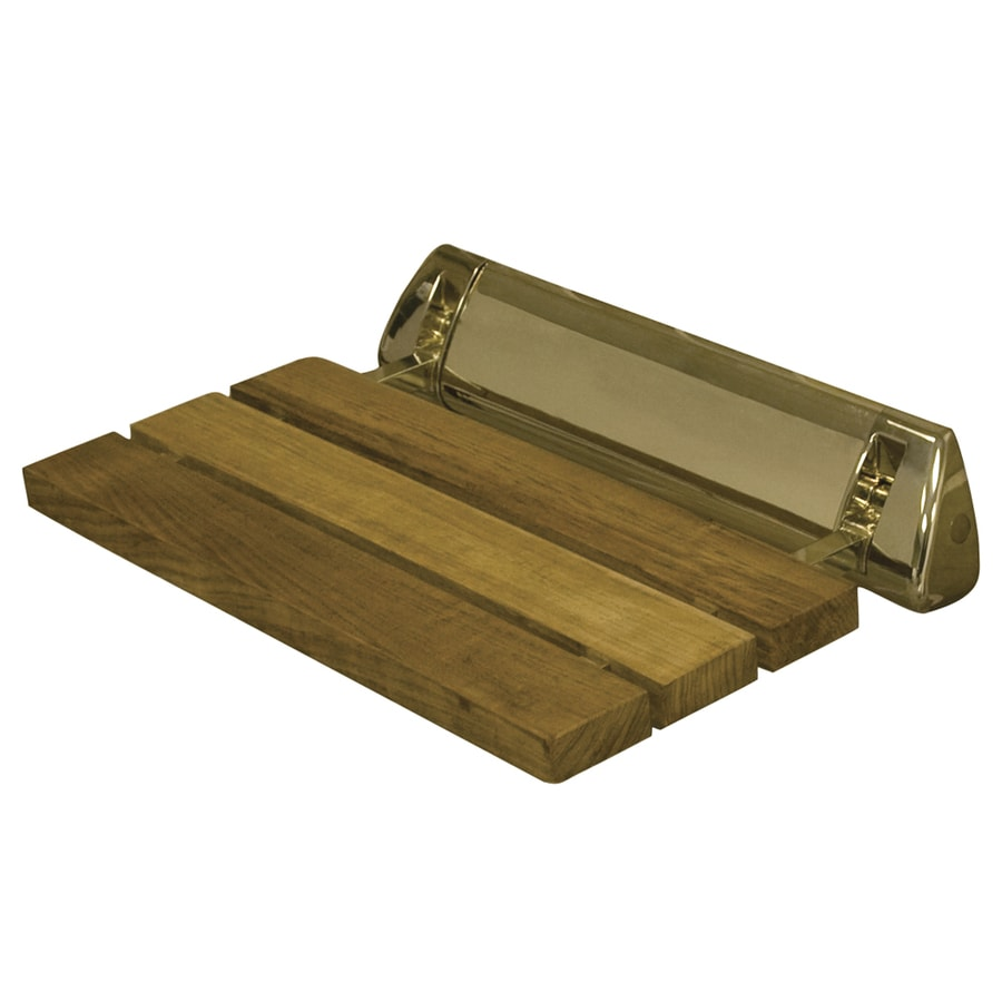 Barclay Polished Brass Teak Wall Mount Shower Seat