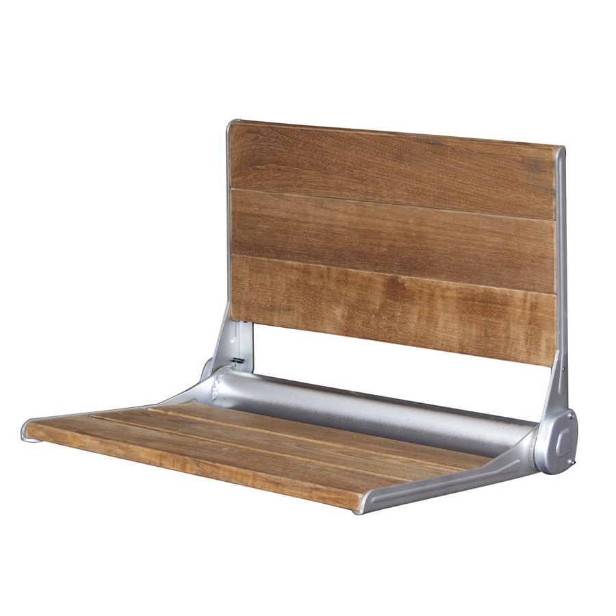 Barclay Anodized Aluminum Teak Wall Mount Shower Seat