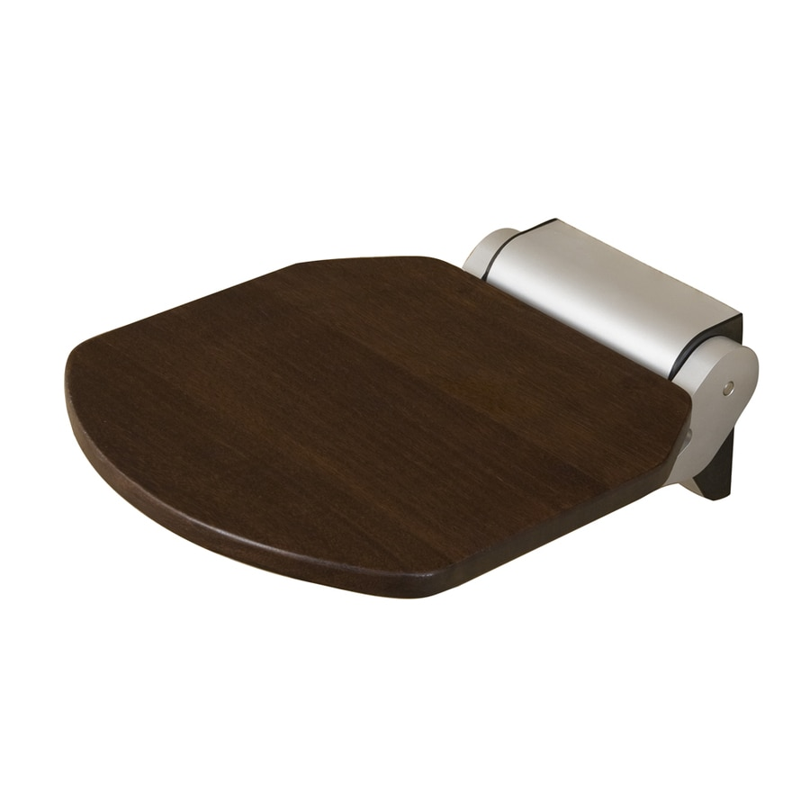 Shop Barclay Satin Silver Teak Wall Mount Shower Seat at Lowes.com