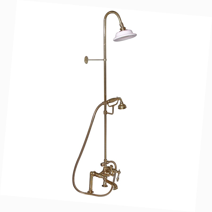 Barclay Polished Brass 3-Handle Deck Mount Bathtub Faucet