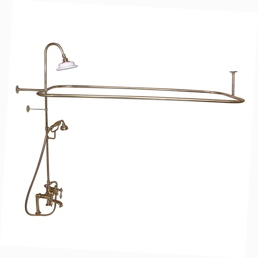 Barclay Polished Brass 3-Handle Deck Mount Bathtub Faucet