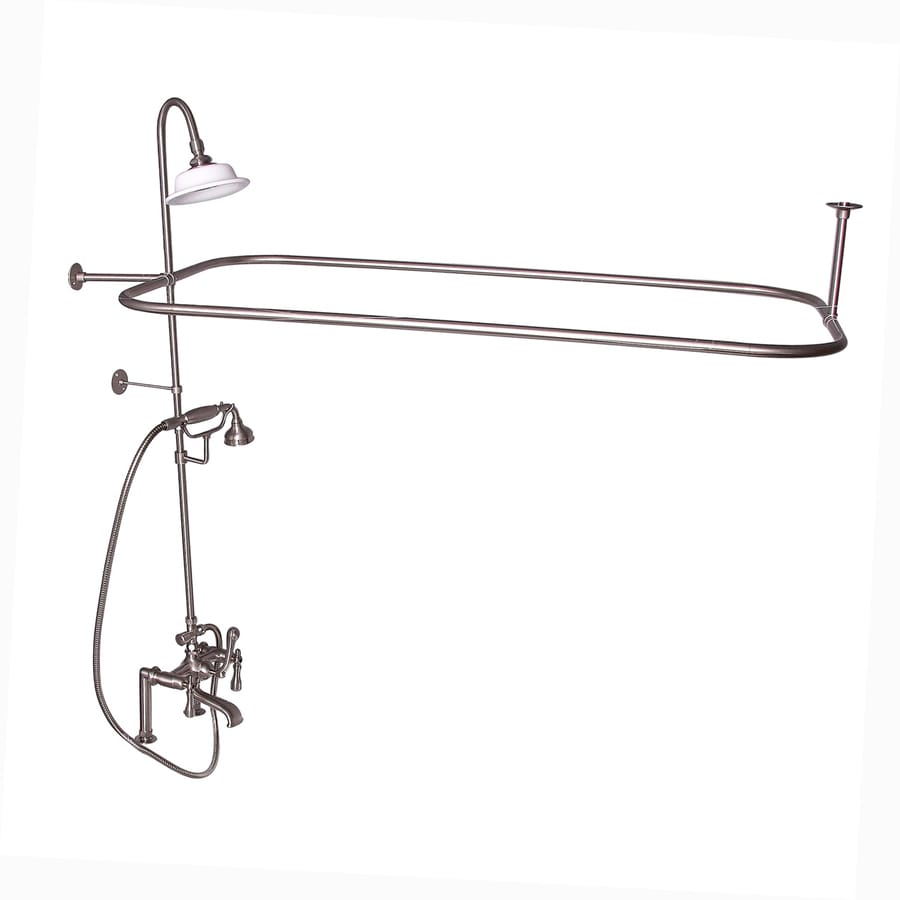 Barclay Brushed Nickel 3-Handle Deck Mount Bathtub Faucet
