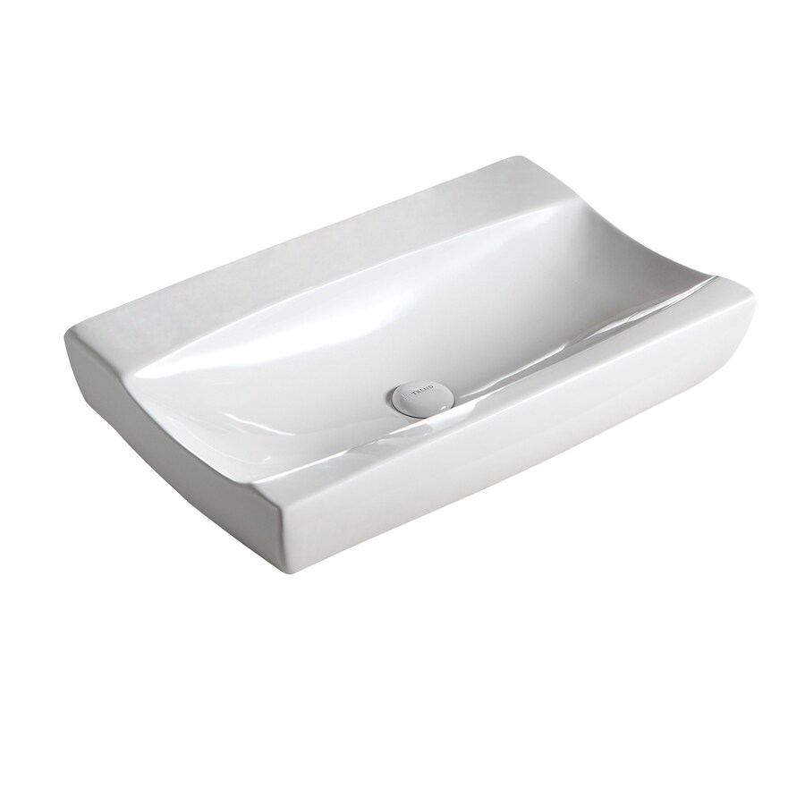 Barclay Ramsey Above Counter Basin White Vessel Rectangular Bathroom Sink 15 37 In X 25 25 In In The Bathroom Sinks Department At Lowes Com