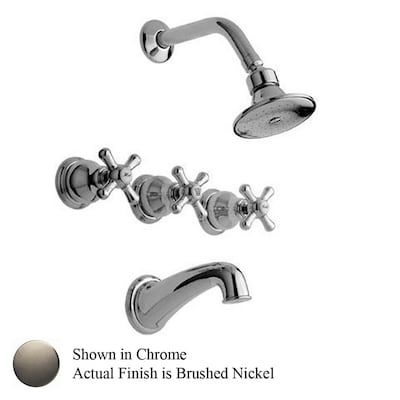 Barclay Denisse Brushed Nickel 3 Handle Tub Shower Faucet With