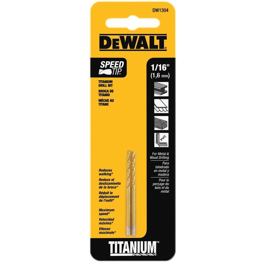 DEWALT 2-Pack 1/16-in Titanium Twist Drill Bit