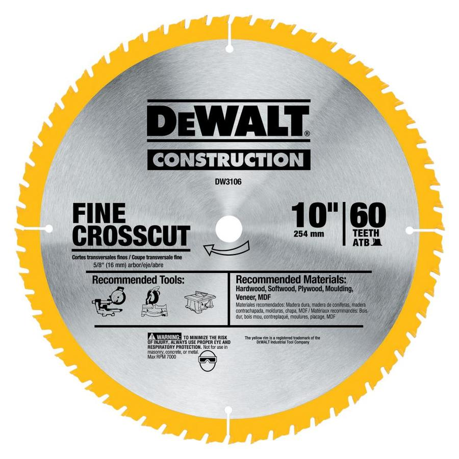 DEWALT 10-in 60-Tooth Dry Standard Tooth Carbide Circular Saw Blade