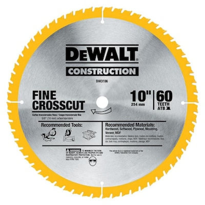 Construction 10 In 60 Tooth Carbide Table Saw Blade