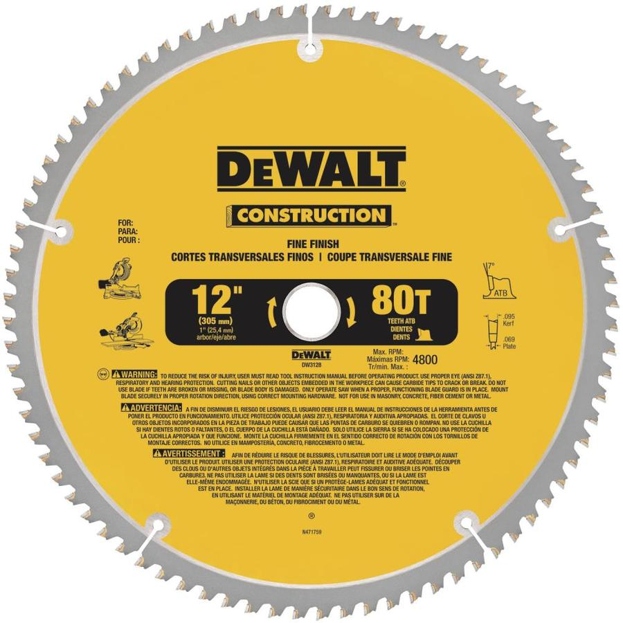DEWALT Construction 12-in 80-Tooth Dry Segmented Carbide Circular Saw Blade