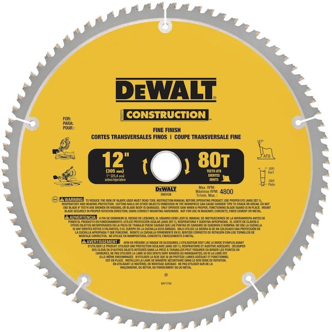 Dewalt Construction 12 In 80 Tooth Tungsten Carbide Tipped Steel Miter Saw Blade In The Circular Saw Blades Department At Lowes Com