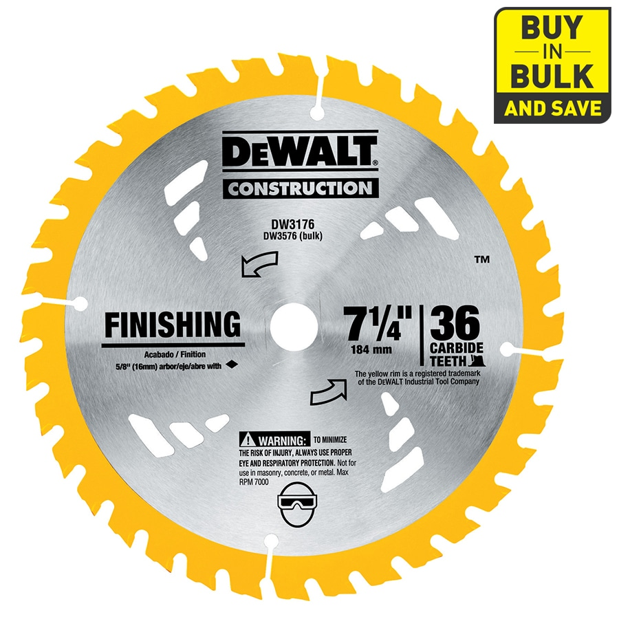 DEWALT Construction 7-1/4-in 36-Tooth Dry Segmented Carbide Circular Saw Blade