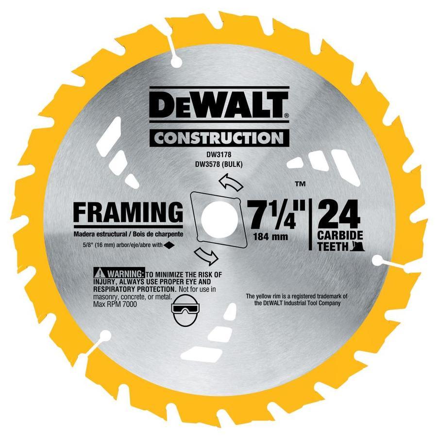 DEWALT Construction 7-1/4-in 24-Tooth Dry Segmented Carbide Circular Saw Blade