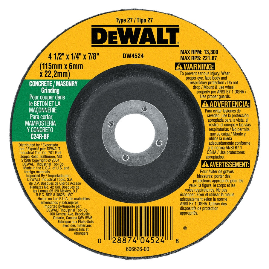 Dewalt Silicon Carbide 4 5 In Grinding Wheel In The Abrasive Wheels Department At Lowes Com