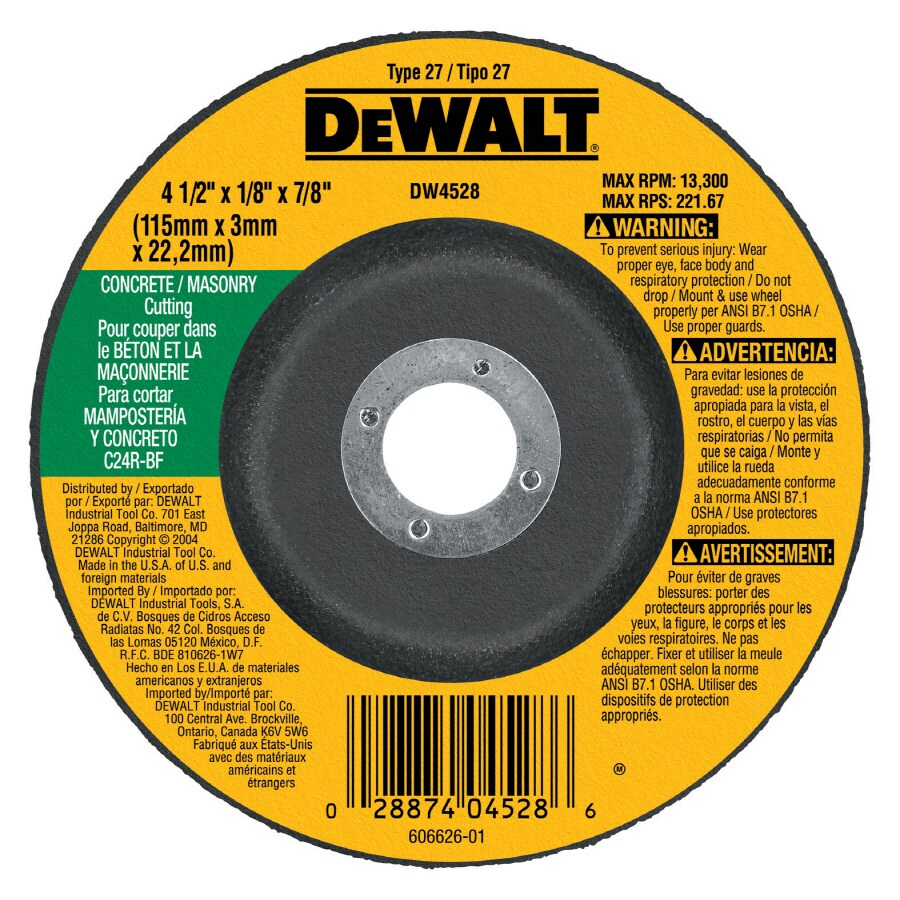 Dewalt Silicon Carbide 4 5 In Cutting Grinding Wheel At