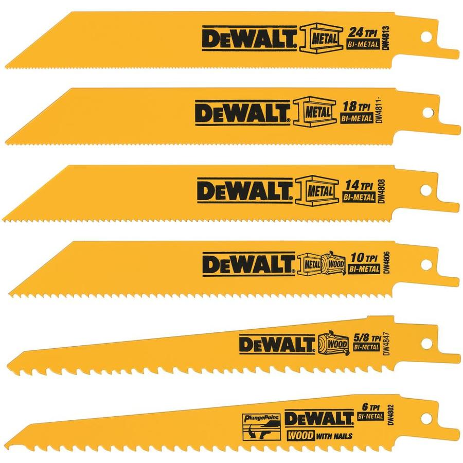 Shop dewalt 6 pack bi metal reciprocating saw blade set at lowes dewalt 6 pack bi metal reciprocating saw blade set greentooth Image collections