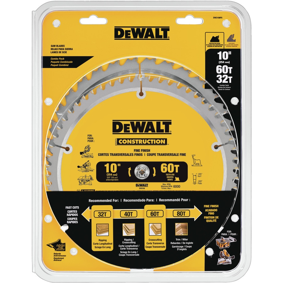Shop Dewalt Construction 10 In Carbide Circular Saw Blade