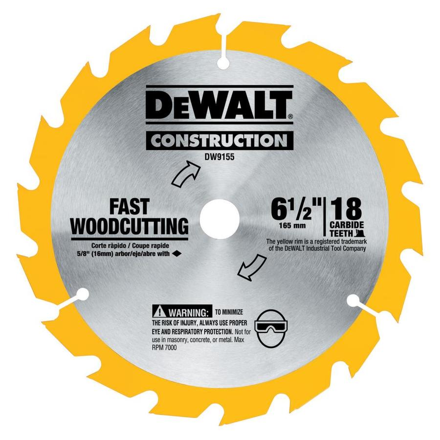DEWALT Construction 6-1/2-in 18-Tooth Standard Carbide Circular Saw Blade