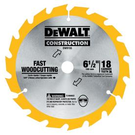 DEWALT Construction 6-1/2-in 18-Tooth Tungsten Carbide-Tipped Steel Circular Saw Blade