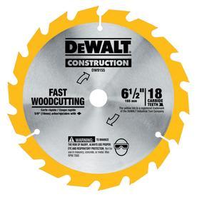 DEWALT Construction 6-1/2-in 18-Tooth Tungsten Carbide-Tipped Steel Circular Saw Blade